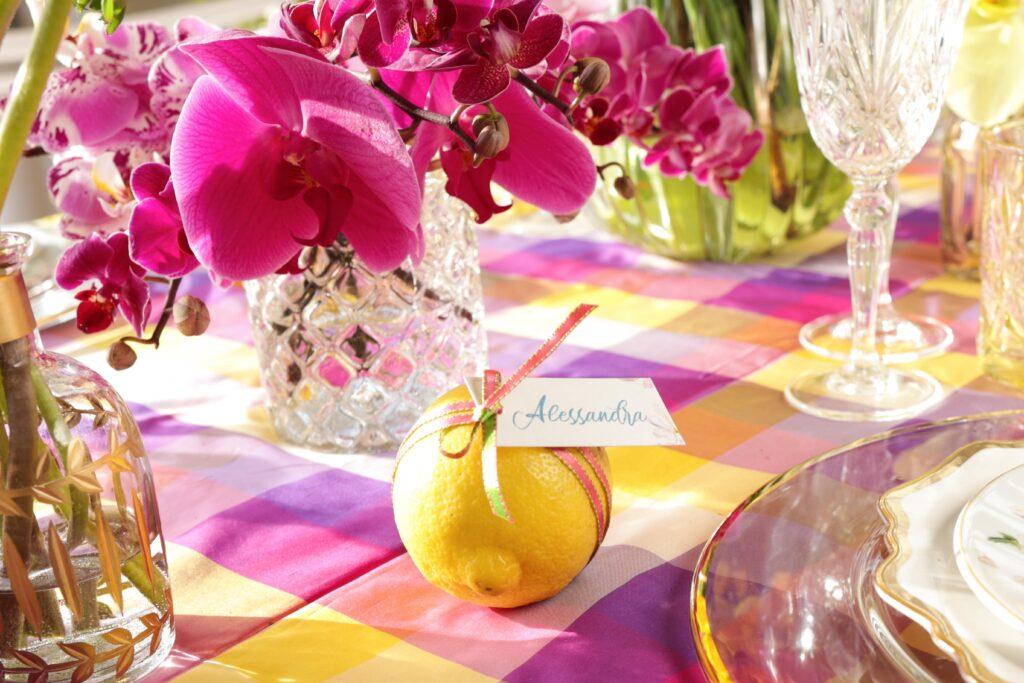 segnaposto, limone, tavola, mise en place