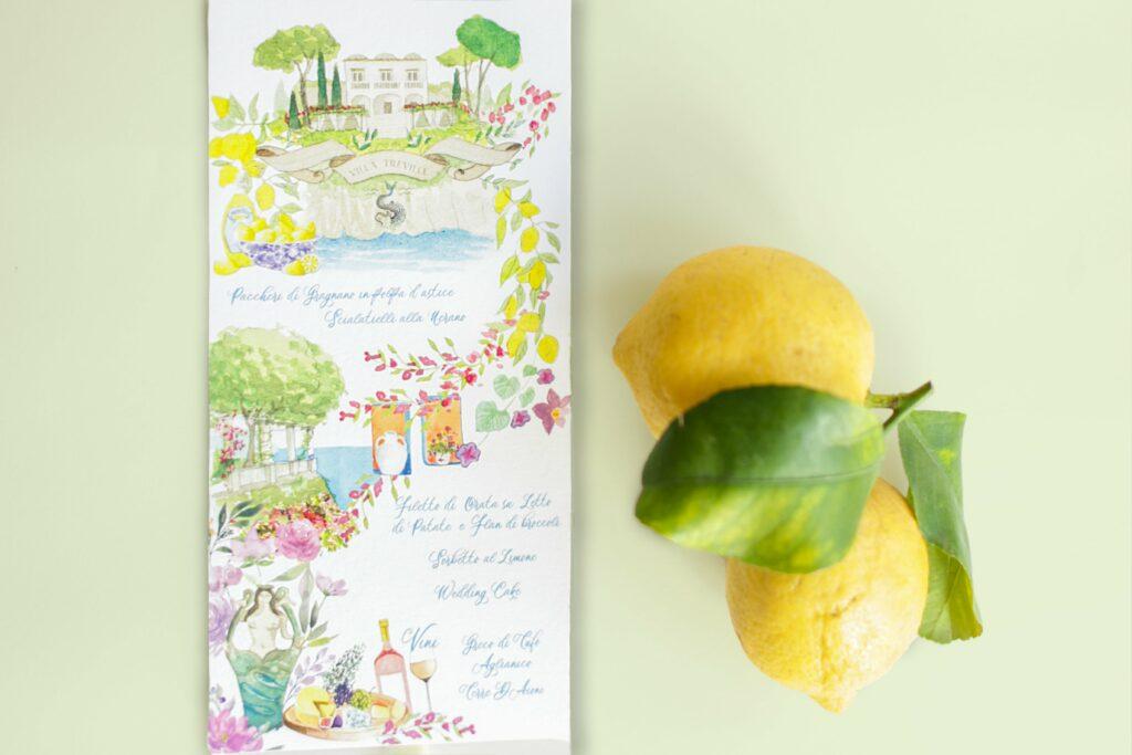 matrimonio in costiera, costiera amalfitana, limoni, menù